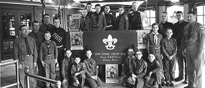 Boy Scouts in the Lobby 1956