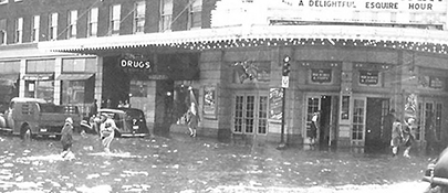Downtown flood captured by Betty Levings 1944