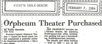Orpheum Purchased February 1984