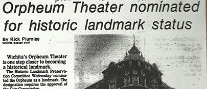 Orpheum Nominated for Historic Landmark Status June 1978